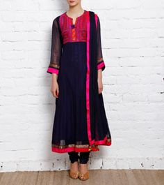 Blue Chiffon Anarkali Suit with Kutch Embroidery