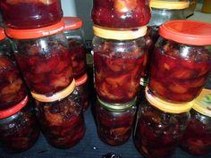 Ogrodnicza Obsesja: Śliwki  węgierki we własnym syropie – przetwory na... Barbecue, Salsa, Jar, Vegetables, Food, Barrel Smoker, Essen, Bbq, Vegetable Recipes