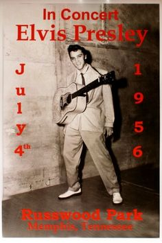 Elvis Presley - Russwood Park - July 4, 1956, in Memphis Tennessee (Poster). Elvis' first benefit concert to raise money for charities.