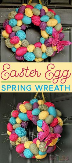 Diy spring easter egg wreath where the smiles have been Diy Spring Wreath, Diy Wreath, Spring Crafts, Wreath Ideas, Easy Easter Crafts, Easter Ideas, Easter Wreaths Diy, Easter Decor, Diy Ostern
