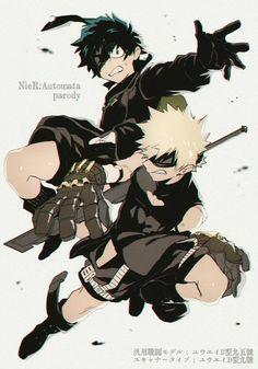 NieR:Automata, text, Izuku, Katsuki, crossover, outfits, cool; My Hero Academia