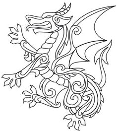 Gilded Heraldry - Dragon | Urban Threads: Unique and Awesome Embroidery Designs