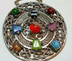 """Vintage Pendant Brooch Signed Miracle Banded Agate Stones Celtic Design Fancy Curb Chain 24"""" VG"""