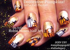 "Nail art: Cute Fall Pumpkins!!!! ""fall nails"" ""fall nail art"" ""fall design"" ""fall ideas"" 