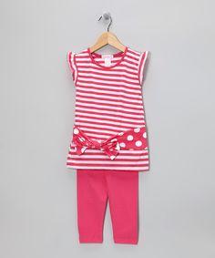 Pink Stripe & Polka Dot Top & Leggings - Infant, Toddler & Girls
