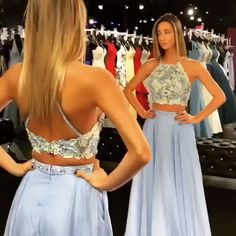 Two Piece Halter Floral Long Prom Dress with Crop Top - - 2019 Two Piece Sky Blue Long Prom Dress Source by aliinakimble Senior Prom Dresses, Pretty Prom Dresses, Prom Dresses Two Piece, Prom Outfits, Dance Dresses, Elegant Dresses, Bridesmaid Dresses, Formal Dresses, Halter Top Prom Dresses