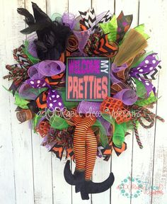 Custom Halloween Witch Wreath, check out more of my wreaths at www.facebook.com/ADOORableDecoWreaths