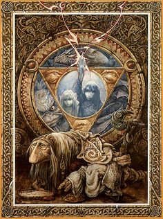 Brian Froud. JRD- Just the crystal, lightning, and globe with a barn owl feather curved around the bottom.