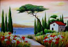 """Italian Landscape with Flowerfield"" , painting by artist Meltem Kilic"
