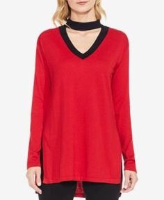 Vince Camuto Choker Sweater - Red XXS