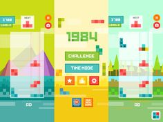 Tetris Flat IOS Game (flat, vibrant, many colors)/ Grid Game, Game Gui, Game Icon, Design Ios, Game Ui Design, Memory App, Tetris, Gaming, Game Interface