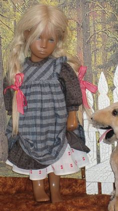 Storybook Little Girl Look - Petticoat, Pinafore, Dress for Sasha Doll Sasha Doll, Thing 1, Doll Outfits, Pinafore Dress, Clay Dolls, French Furniture, Hello Dolly, 18 Inch Doll, Doll Patterns
