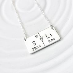 Copper periodic table pendant atomic symbol for copper science periodic table element necklace couples necklace hand stamped personalized jewelry bar necklace urtaz Image collections