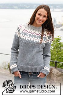 Free knitting patterns and crochet patterns by DROPS Design Drops Design, Crochet Pullover Pattern, Knit Crochet, Knit Cowl, Hand Crochet, Fair Isle Knitting Patterns, Knit Patterns, Tejido Fair Isle, Drops Patterns