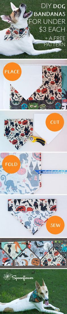 DIY Dog Bandanas for Under $3 Each | Free Pattern - Make these easy DIY dog bandanas in a few easy steps. Use Spoonflower Fill-a-yard to make 9 dog bandanas from a single piece of fabric. Click to see the easy tutorial and download the free pdf pattern.