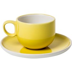 Porcelain Lemon Espresso Cup & Saucer ($12) ❤ liked on Polyvore featuring home, kitchen & dining, drinkware, kitchen, cups, white cup, white espresso cups, white saucers, porcelain cups and porcelain espresso cups