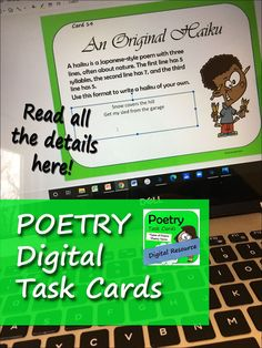 Poetry practice in digital task cards for Google slides. The topics include types of poems and poetry terms. For middle schoolers and upper elementary students in reading and language arts classes. Teaching Poetry, Teaching Reading, Write A Haiku, Types Of Poems, Close Reading Activities, Figure Of Speech, Middle Schoolers, Figurative Language, Upper Elementary