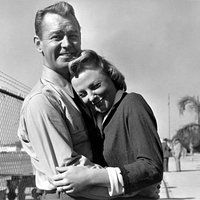 """June Allyson and Alan Ladd on the set of """"The McConnell Story"""""""