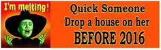 HILLARY Quick drop a house on her before 2016? ANTI HILLARY Funny Bumper Stick