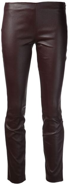 $2,290, Dark Brown Leather Skinny Pants: The Row Notterly Legging. Sold by farfetch.com. Click for more info: https://lookastic.com/women/shop_items/104118/redirect