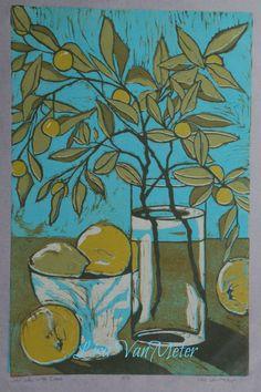 Still Life with Citrus, relief linocut original print Lisa vanmeter