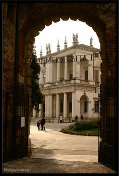 Palladio: Palazzo Chiericati in Vicenza, seen from the entrance of the Teatro Olimpico