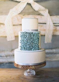 textured Tiffany blue wedding cake