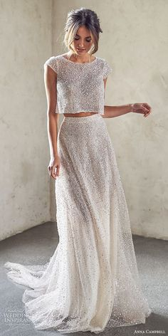 anna campbell 2020 bridal cap sleeves jewel neck fully embellished crop top a line skirt wedding dress (10) modern chapel train mv -- Anna Campbell 2020 Wedding Dresses | Wedding Inspirasi #wedding #weddings #bridal #weddingdress #weddingdresses #bride #fashion ~