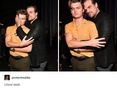 Joe Keery (Steve Harrington) and David Harbour (Jim Hopper) from Stranger Things