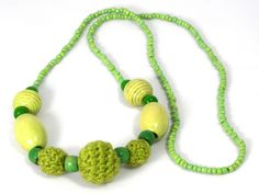 Multi-Textured Lime Green Necklace by Golden Heart Crafts Crochet Necklace, Beaded Necklace, Necklaces, Golden Heart, Heart Crafts, Green Necklace, Lime, Jewelry, Beaded Collar