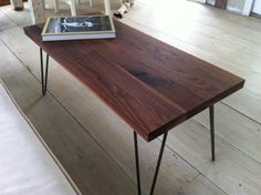 Walnut coffee table or bench with hairpin legs, mid century modern style.