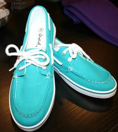Teal 'Qupid' Boat Shoes.