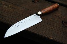 Bloodroot Blades - 165 MM Cherry Burl Santoku Knife