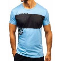 Egyedi, mintás férfi póló #181403 - türkizkék