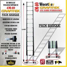 ECHELLE 4M40 GRAFITEK AVEC BARRE STABILISATRICE - PACK BASIQUE