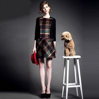 brand designer autumn winter womens dresses elegant slim plaid wool blends ladies dress one-piece Clothing woman costumes S-XL