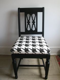 Upcycled Black Houndstooth Upholstered Chair, (Sold)