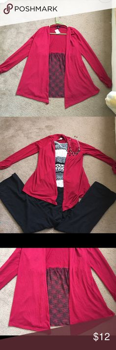 """NWT Rue21 Red/Black sheer patterned cardigan STUNNING Rue 21 red/black cardigan with sheer black/red patterned bottom Size: XL 27.5"""" long Material:  top red section 88% polyester, 9% rayon, 3% spandex  Bottom sheer patterned part: 100% polyester Rue21 Sweaters Cardigans"""