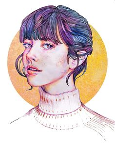 Original Artist: camilaxeno (IG) Inspiration: Circle creates interest/fills bg, Bland skin and clothes, Values, Hair creates interest to face