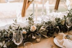 Greenery Runner with Floral Pops of White by Paradiso Flowers Chelsea, Greenery, Our Wedding, Table Decorations, Floral, Flowers, Home Decor, Sheep, Decoration Home