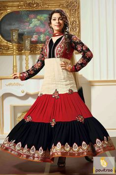 Off white red black Anarkali Salwar suit which is attractive in embroidery, lace patti and patch worked. A georgette and chiffon fabricated saree. The best.