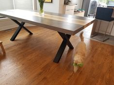 TABLE KÉNOGAMI - BÉTON GALET - FRÊNE BLONDE - 86'' X 42'' X 2.25'' ÉPAIS #lusine #table #kenogami #beton #galet #frene #rousse #pattex Dining Table, Furniture, Home Decor, Pebble Stone, Decoration Home, Room Decor, Dinner Table, Home Furnishings, Dining Room Table