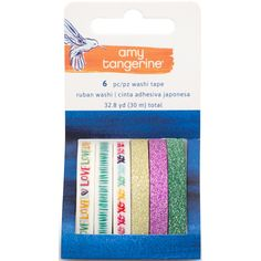 """NEW! Amy Tan Better Together Washi Tape Rolls 6/Pkg-Printed & Glittered, .25""""""""X32.8yd Total"""