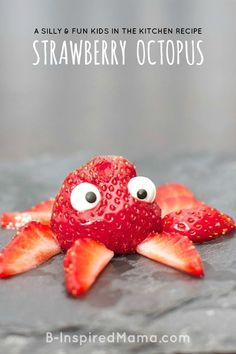 How cute is this easy and yummy strawberry octopus! Fun snack for home or classroom! From Moms and Munchkins Finding Dory Party Ideas Food Art For Kids, Cooking With Kids, Food Kids, Cooking Fish, Easy Food Art, Fruit Art Kids, Cooking Salmon, Toddler Meals, Kids Meals