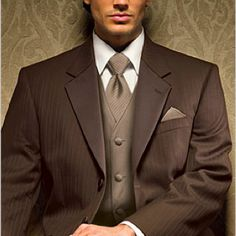 Like this fall brown suit - nice change from the usual grey and black suits and tux #men's fall suits #Men's fall colours
