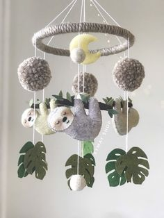 leaf crafts Sloth felt mobile is perfect decoration for a baby girl or boy nursery room. It will surely become a perfect design item in your kid's room. Our mobiles are made with high qual Nursery Room, Baby Room, Nursery Decor, Nursery Ideas, Budget Nursery, Nursery Crafts, Boho Nursery, Girl Nursery Art, Bathroom Crafts