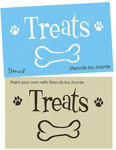 STENCIL Treats Dog Dish Canister Cat Puppy Paw Print Bone Pet Kennel Food Signs
