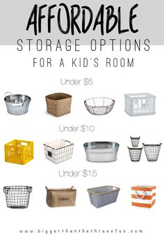 Affordable Storage Options for a Kids Room. Storage doesn't have to cost an arm and a leg. Here are lots of affordable options. Affordable Storage, Storage Baskets, Storage Ideas, Storage Solutions, Organizing Your Home, Organizing Tips, Neat And Tidy, My New Room, Organization Hacks