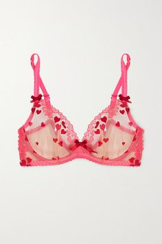 Agent Provocateur Cupid Embroidered Tulle Underwired Bra In Red Sexy Lingerie, Pretty Lingerie, Women Lingerie, Agent Provocateur, Fairy Clothes, Cute Bras, Groom Style, Pink Satin, Cupid