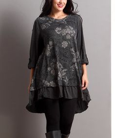 This Charcoal Floral Ruffle-Hem Tunic - Plus is perfect! #zulilyfinds